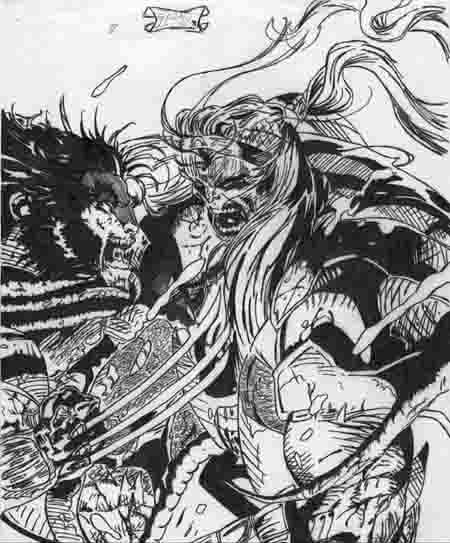 another junior drawing ('91) i did of wolverine and sabertooth. i was a real big fan of jim lee's work at the time