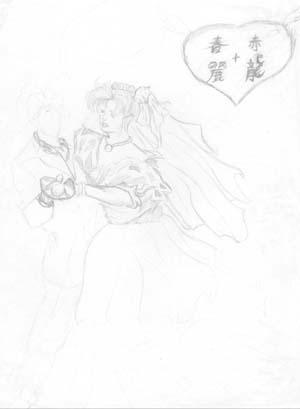 rough pencil sketch of chun li and ryu back in 92