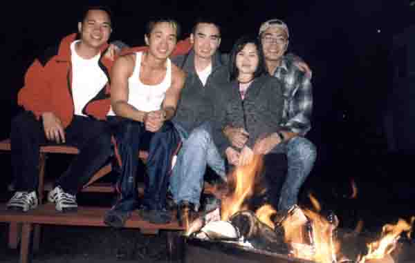 below is our trip to mink lake. from left to right: thuong, me, duy, jen and tony